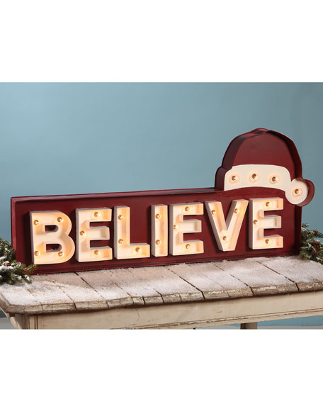 Bethany Lowe Believe Marquee Sign