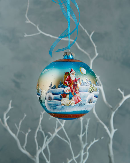G. Debrekht Winter Scene Ball Christmas Ornament