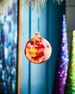 Image 1 of 2: Playful Brights Collection Marble Ball Ornament, Pink/Multi