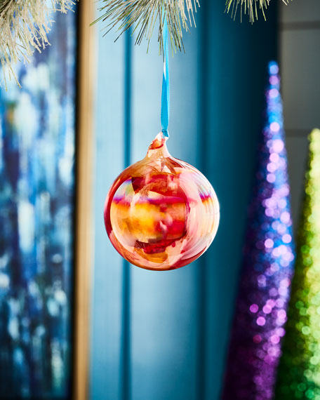 Jim Marvin Playful Brights Collection Marble Ball Ornament,