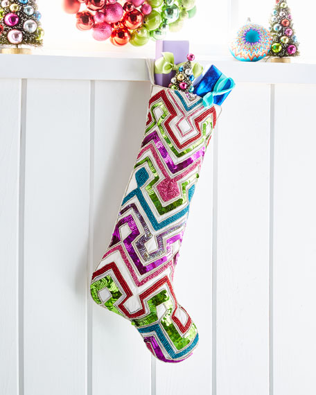 Kim Seybert Playful Brights Collection Chevron Stocking