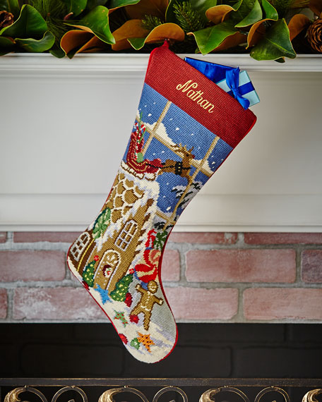SFERRA Christmas Goodies Needlepoint Stocking