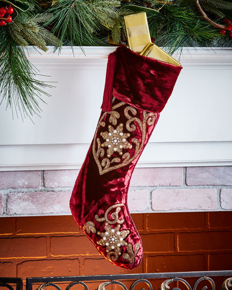 Hand-Embroidered Velvet Stocking