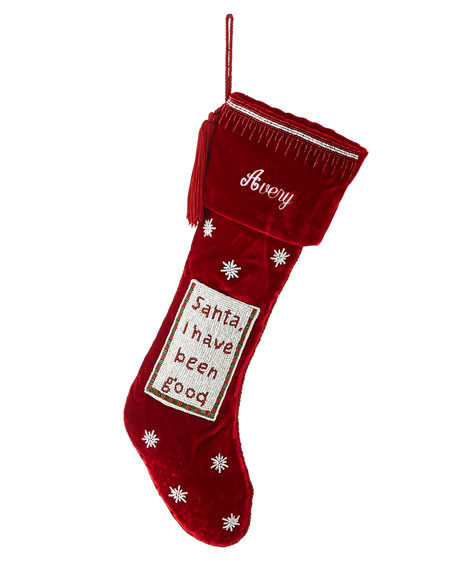 """""""Santa, I have been good"""" Velvet Stocking"""