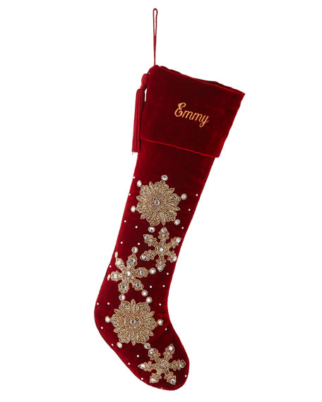 Hand-Embroidered Velvet Snowflake Stocking