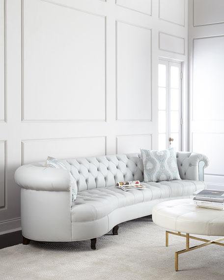 "Haute House Rebecca Tufted Leather Mirrored Sofa 122"""
