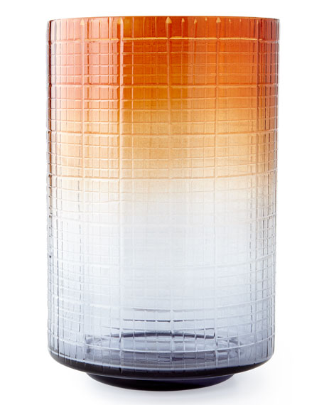 Large Cut Glass Ombre Hurricane Vase and Matching