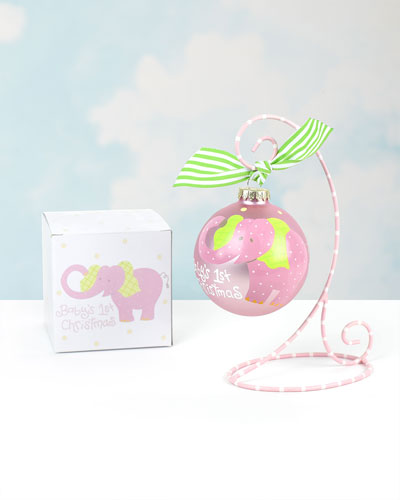 Baby's First Christmas Elephant Ornament, Girl