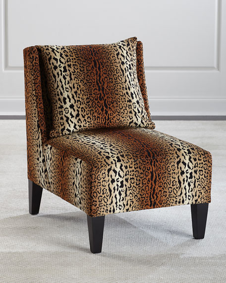 Image 1 of 5: Asher Cheetah Slipper Chair