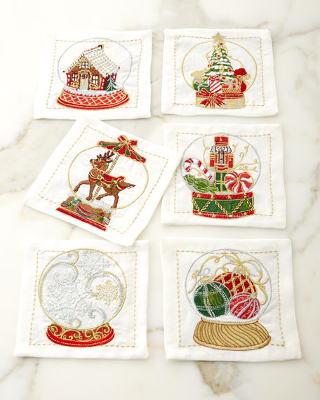 Kim Seybert Snow Globe Cocktail Napkins, Set of