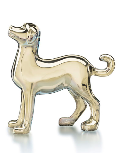 Zodiac Crystal Dog Figurine, Gold