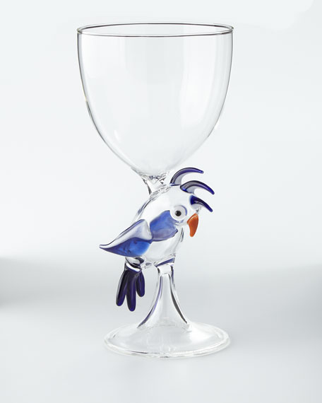 Parrot Stem Glass, Blue
