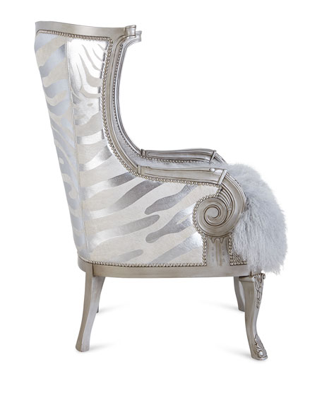 Massoud Cassius Hairhide & Shearling Wing Chair