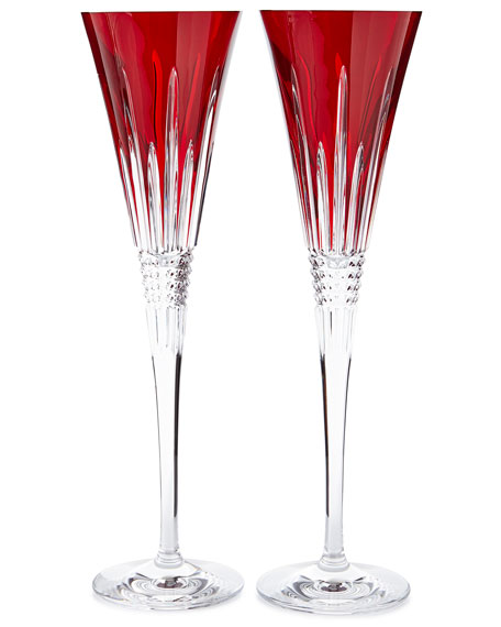 Waterford Crystal Lismore Diamond Toasting Flutes, Red, Set of 2