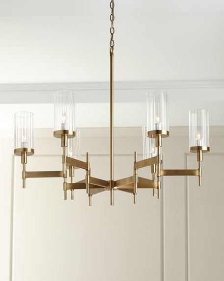 Contemporary Chandelier with Glass Shades
