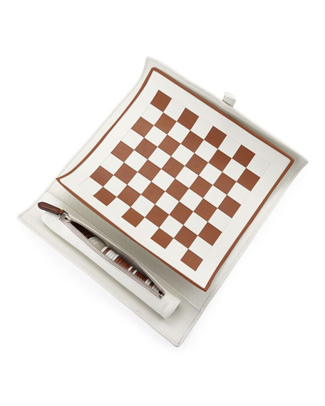 Woven Leather Checkers Game Travel Set