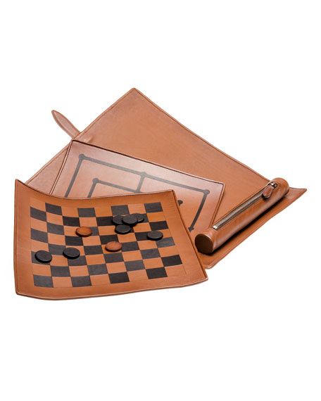 Ermenegildo Zegna Woven Leather Checkers Game Travel Set
