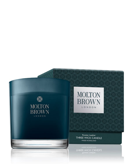 Molton Brown Russian Leather Three Wick Candle, 16.9 oz./ 479 g