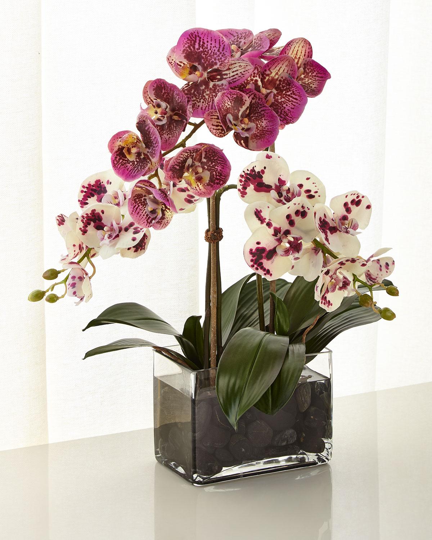 Ndiwhite And Purple Orchid Faux Fl Arrangement