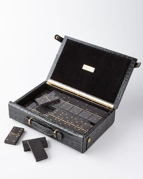 Renzo Romagnoli Domino Maxi Set with Croc-Embossed Carry Case