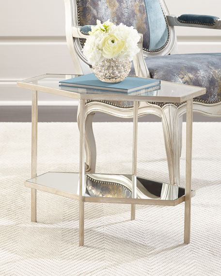 "Global Views Valeria Hexagon Side Table, 21""T"