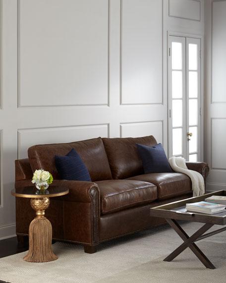 Massoud Shields Leather Sleeper Sofa