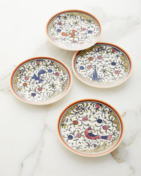 Neiman Marcus Pavoes Appetizers Plates, Set of 4