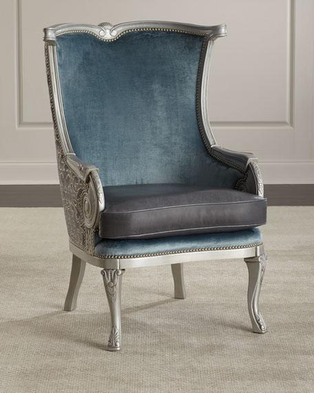 Massoud Yasmine Leather Wing Chair
