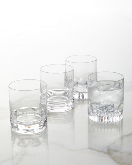 Waterford Crystal Ogham Assorted Double Old-Fashioned Glasses, Set of 4