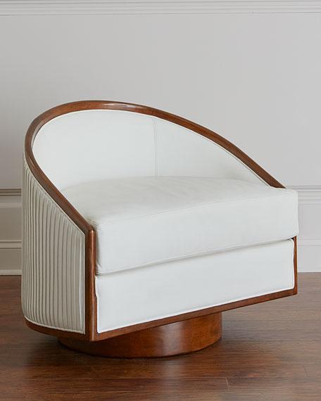 Global Views Sawyer Leather Swivel Chair