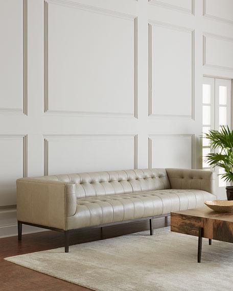 "Dusty Stone Tufted Leather Sofa 96"""