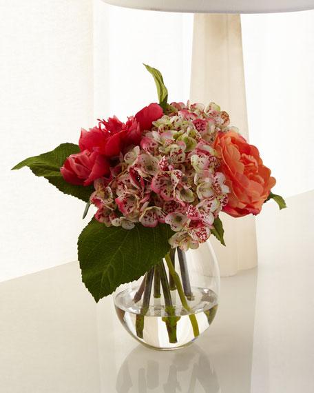 Rose Hydrangea Glass Teardrop