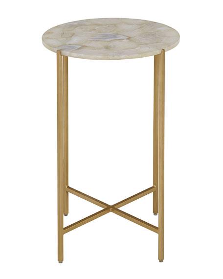Interlude Home Blinn Round White Agate Side Table