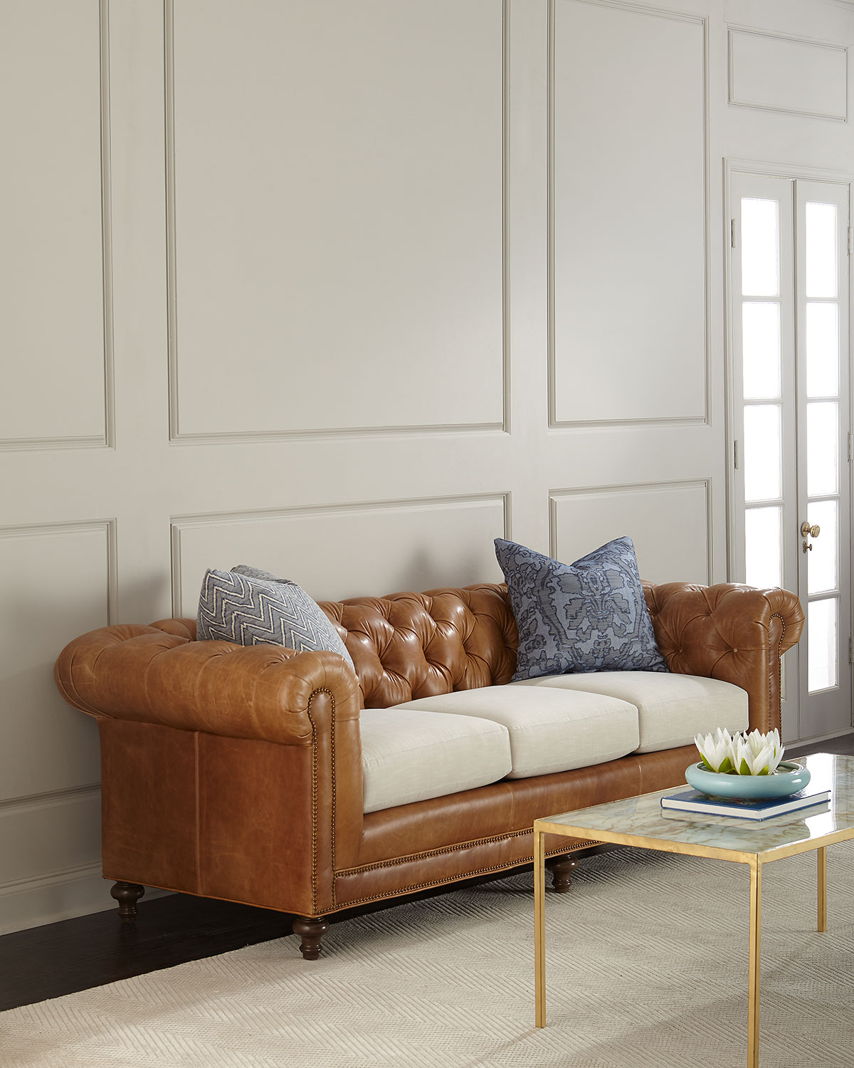 Moudclayton Tufted Leather Sofa 94