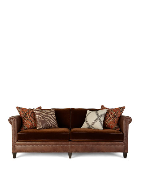 Image 4 of 4: Massoud Durbin Leather and Mohair Sofa 92""