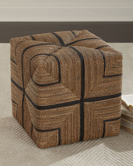 Image 1 of 3: Palecek Fritz Rope Square Ottoman