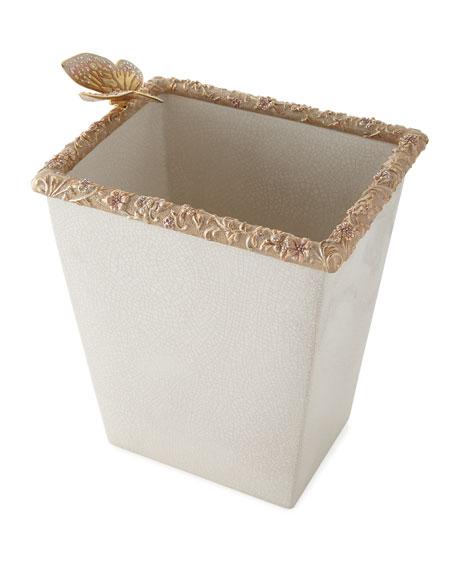 Jay Strongwater Boudoir White Crackle Glaze Wastebasket