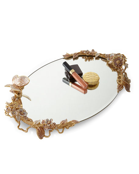 Jay Strongwater Boudoir Oval Mirror Tray