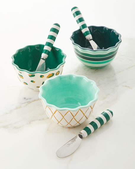 Emerald Series Ruffle Appetizer Bowls with Spreaders Set