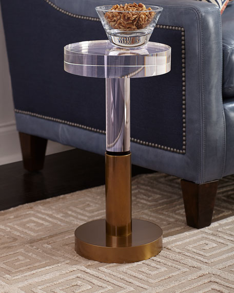 Crystal and Brass Martini Side Table