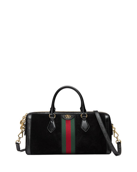 Gucci Ophidia Webbed Suede Duffel Bag