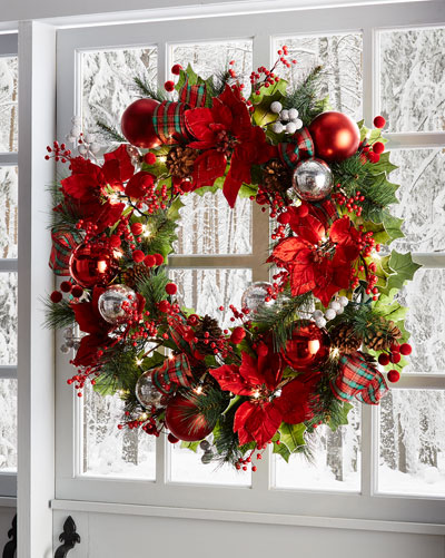 28 classic pre lit christmas wreath - Artificial Christmas Wreaths Decorated