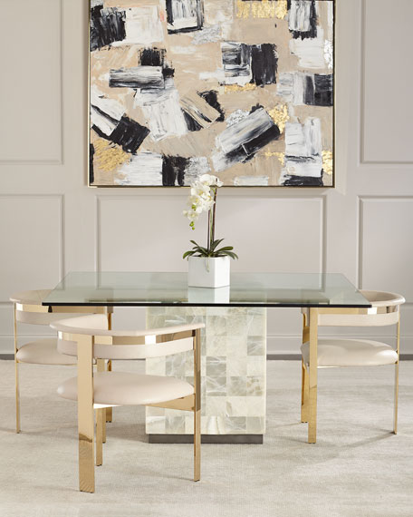 Interlude Home Darla Brass and Leather Dining Arm Chair