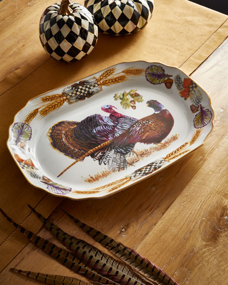 MacKenzie-Childs Pheasant Run Large Turkey Platter