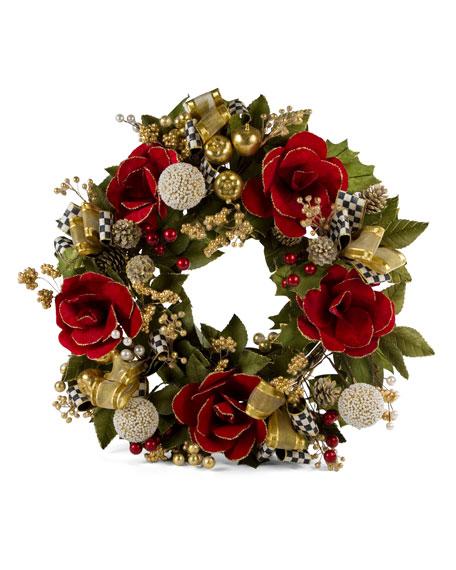 "Garnet Magnolia Large Wreath, 26"""