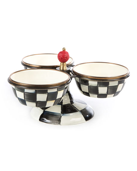 Image 1 of 2: MacKenzie-Childs Courtly Check Enamel Triple Bowl Server
