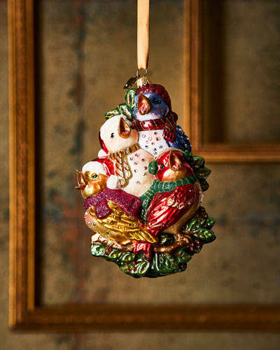 Four Calling Birds Glass Ornament