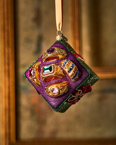 Five Golden Rings Glass Ornament