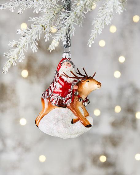 Patricia Breen We Fly Santa & Reindeer Ornament
