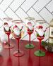 Neiman Marcus Hand-Painted Santa Wine Glasses, Set of 4